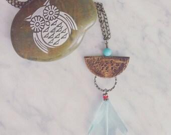 Copper bail faceted aquamarine necklace