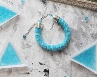 Blue femme bracelet Bead crochet jewelry Summer beach seed bead bracelet Wife wedding gift Ocean girlfriend lover gift Ready to ship