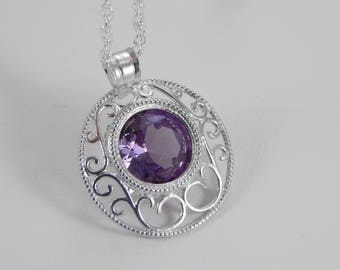 Simulated Alexandrite Necklace. Alexandrite in Filigree Setting. Alexandrite Necklace. Alexandrite Pendant.