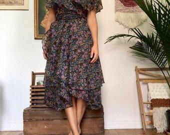 Late 1940s Floral print medi Dress