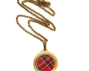 Plaid Tartan Locket - Vintage Red Plaid Scottish Fabric Locket Necklace