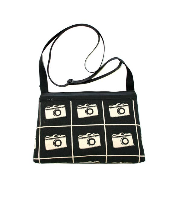 SALE! cameras, retro, cotton front, medium crossbody, vegan leather, zipper top