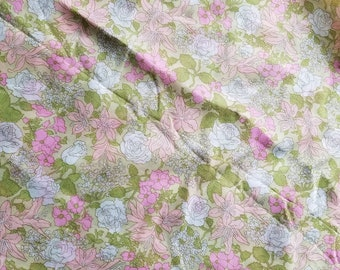 3 Yards Vintage 1960's Bright Floral Hippie Sheer Fabric
