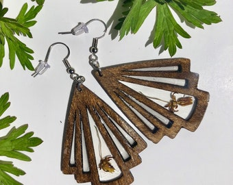 Butterfly Weed Wooden Earrings - Real - Botanical - Floral -