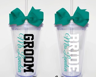 Bride and Groom Set of 2 - Acrylic Tumbler Personalized Cup