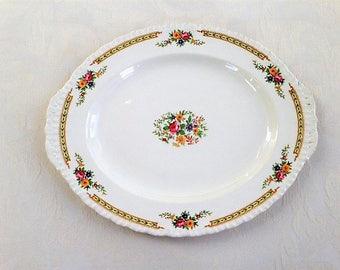 Grindley England Platter in ivory and floral design