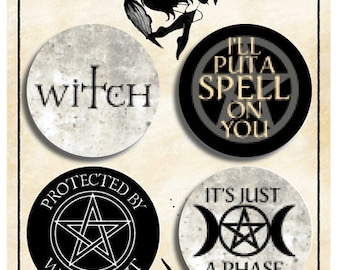 Witch family pin badge set 4