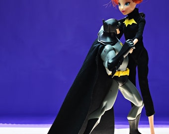 Dance with me, Batman dancing with barbie doll, photograph, still life photography, fashion doll photography, toy photography