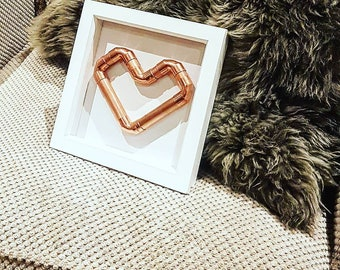 White Box Frame with Copper Heart