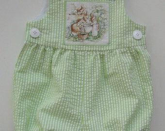 Beatrix Potter romper, lime green/white stripe seersucker romper, rabbit applique, baby romper,  new baby gift, gift idea,  Newborn - 18 mo.