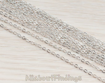 CHN001-R // Glossy Original Rhodium Plated Small Cable Chain, 1 Meter.