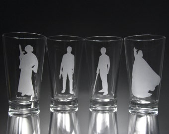 Star Wars Silhouette Inspired Etched Glass Set, Princess Leia, Han Solo, Luke Skywalker, Darth Vader, Personalized Gift, Glassware.