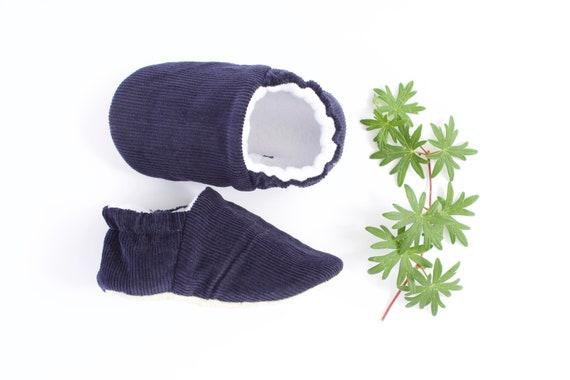 Navy corduroy  baby boy shoes/moccs crib shoe pram shoe