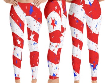 Patriotic Red White stripes blue stars Independence day 4th July leggings