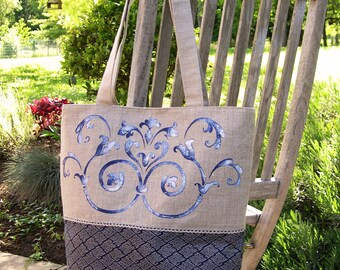 Bag Tote blue hand stenciled