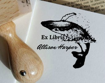 Custom Ex Libris Stamp, Custom Whale Ex Libris, Personalizable Bookplate Rubber Stamp,Booklovers Gift Idea  -2257021117-