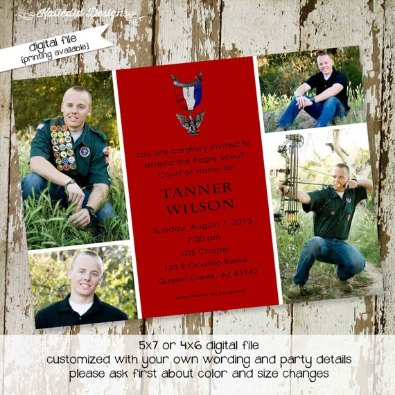 eagle scout court of honor invitation LDS Mormon graduation announcement high school boy teenager birthday picture photo | 601 Katiedid Card