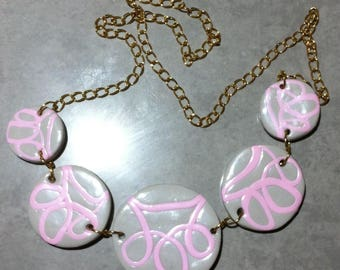 Necklace 5 pink and gray medallions