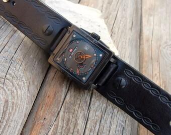 Men's Leather cuff watch, Military Quartz Wrist Watch, Square Dial Calendar Sport cuff watch, Infinity cuff watch