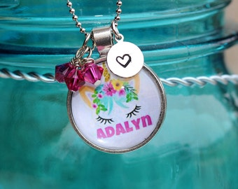 Personalized Unicorn Pendant, Unicorn Jewelry, Unicorn Eyelashes, Girl Necklace, Girl Birthday Gift, Name Pendant, Girl Charm Necklace