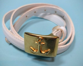 White PATENT Leather Skinny Belt, by MONDI, with Brass Anchor Buckle