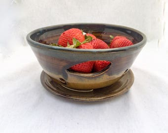 Ceramic berry bowl/ colander, with cut-out leaf handles, and drip plate, brown and blue glaze- stoneware pottery berry bowl