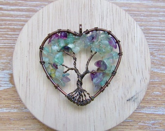 Fluorite Stone Tree of Life Copper Wire Pendant Heart Natural Gemstone Yoga Meditation Handmade Rock Gift Energy Reiki Necklace Love Charm