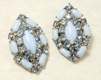 Vintage Blue Rhinestone Earrings Clip Earrings Aqua Blue