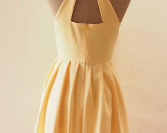 Love Potion- Yellow Vintage Bridesmaid Dress, Pastel Yellow Bachelorette Dress, Yellow Fashion Dress, Vintage Style Dress, Tea Length Dress