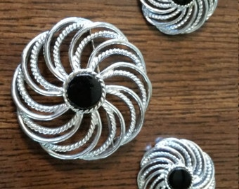 Lovely Sara Coventry Swirl Brooch and Earrings