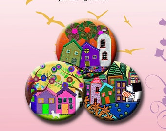 FUNKY HOUSES -  Digital Collage Sheet 1.629 inch round images for 1.25 inch buttons. Instant Download #215.
