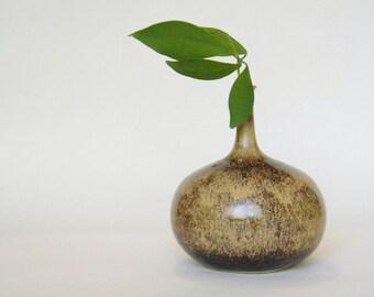 Solifleur Ceramic Vase - 1960s - 1970s One Flower Vase - Brown Glaze Vase - Studio Pottery Vase - Mid Century Modern Shelf Decorations