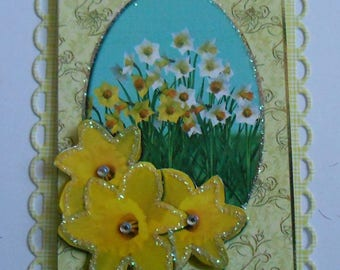 Pack 2 Yellow Spring Daffodil Embellishment Toppers for cars and crafts