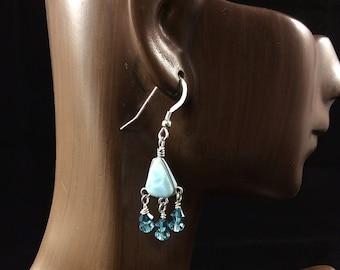 Larimar Earrings, Larimar and Crystal Earrings, Small Chandelier Earrings, Boho Earrings, Aqua Dangle Earrings, Beachy Earrings