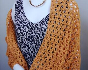 Crochet Shawl, Shawl Crochet, Orange Shawl, Alpaca Shawl, Crocheted Shawls, Crochet Shawls, Gift for Her, Wraps Shawls, Saffron Yellow Shawl