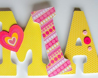 Pink and Yellow Nursery Wooden Letters, Heart Theme, Girl Bedroom