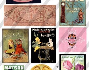 Vintage Moon and Ephemera, Digital Collage Sheet (Sheet no. E1) Instant Download