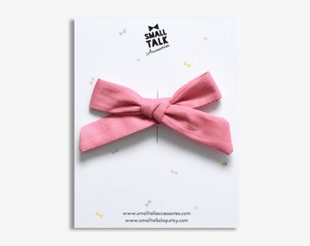 Almond Pink Hair Bow - School Girl Bow Headband - Baby Bow - Mini Hand tied Bow - Girls Hair Bow