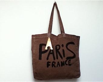 CUSTOM Paris France brown sturdy eco cotton French shoulder Tote BAG / Eve Damon