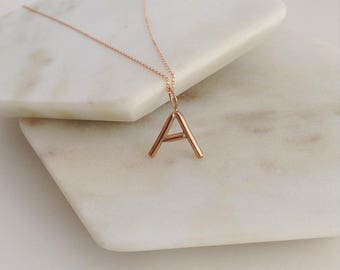 Rose Gold Letter Necklace. Solid Rose, yellow or white Gold Letter Necklace. Letter Necklace. Solid  Gold initial necklace. Gift for mum.