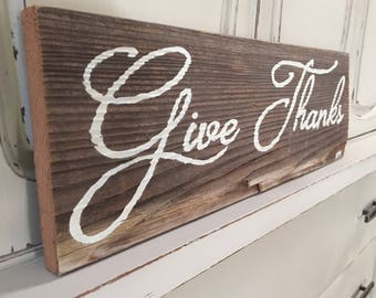 Give Thanks Reclaimed Wood Sign
