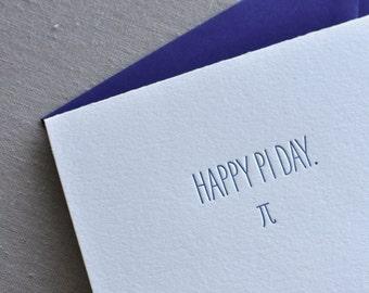Happy Pi Day Geeky Letterpress Card & Envelope