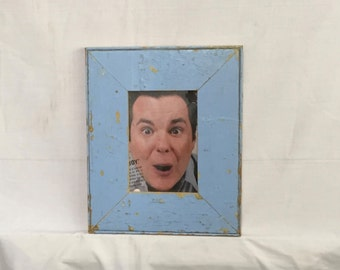Reclaimed Wood 5x7 Picture Frame Photo Blue Shabby Cottage Chic 400-16