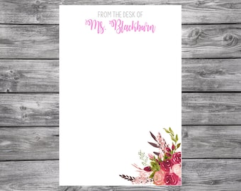 Notepad-Personalized-Red and Pink Flowers-4x6
