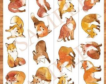 Fox Washi Sampler,  Cute Animal Washi Sample, Bird, Collectible Masking Tape, Deco Tape