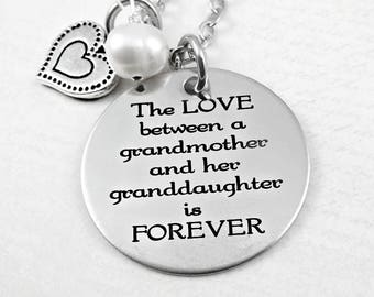 Love Between A Grandmother and Grand Daughter Is FOREVER  Necklace  - Grandma Nana Mimi - Grandma Gift - Granddaughter Gift