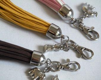 Tassel zipper charm, faux suede keychain tassel, handbag charm, zipper accessories, bag tassel, bag charm, charm tassel, suede decor