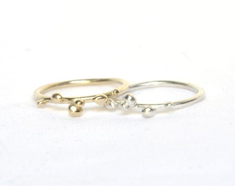 Grain ring, gold bubble ring, polyp ring