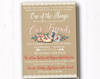 Farm to table dinner invitation farmhouse white rustic favorite things invitation ladies christmas gift exchange invite country christmas brown paper holiday stopboris Image collections