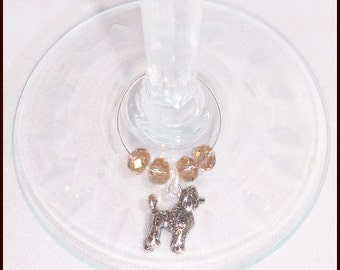 Toy Poodle Dog Wine Charms - 4 pack